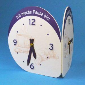 Zweiseitige, manuell verstellbare Uhr zum Kennzeichnen von Pausenzeiten