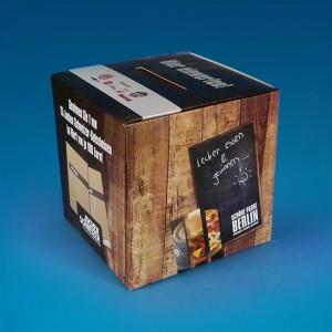 Würfelförmige Losbox mit haptischem Druck