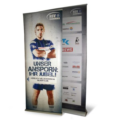 Roll-Up Plakat mit Metallkassette