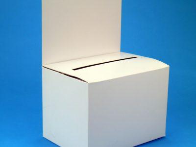 Einwurfbox weiß mit hoher Rückwand